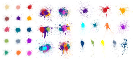 Colored blots, paint drops and splashes isolated on white background. Paint splatter, stains set, compositions of spots. Colorful splash and drip design. Watercolor spots. Vector set grunge design Stockfoto