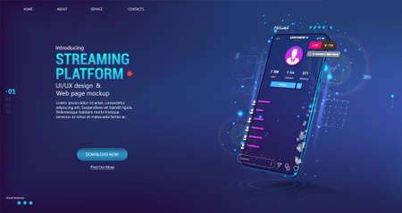 Live video stream on mobile phone. Online broadcast with chat, likes and emoji. Video stream online on smartphone with user interface app - streaming platform. Mobile phone with UI flat. Vector