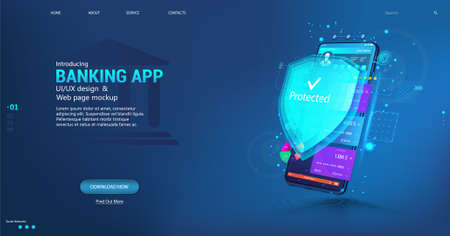 Online banking App and Data protection and money protection. Web payment with credit debit card NFC technology and High level payment security. Smartphone with UI banking App. Vector Web banner