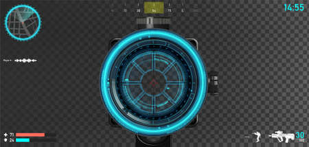 First person shooter layout, sniper scope with hologram hood and game interface elements - mini map, armor and lives, compass, ammunition, weapons and other. First person shooter GUI. Vector template