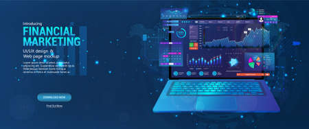 Web page - Financial Marketing with laptop and with a monitoring application open on it, online trading and investment, SEO dashboard, modern technology. 3D banner with analytics data charts. Vector