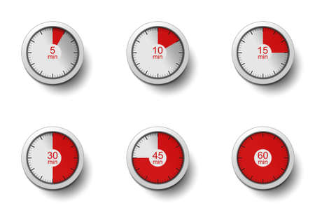 Realistic clocks with time intervals (5, 10, 15, 30, 45 and 60 minutes). Timer, clock, stopwatch - concept. Collection isolated on white background. Label cooking time or the required time. Vector set Stock Illustratie