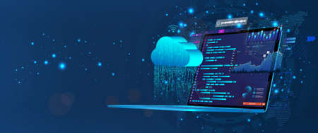 Laptop with programming code on screen with software development UI and saving data to cloud storage. Web coding and synchronization with the cloud service via the Internet. Programming concept Stock Illustratie