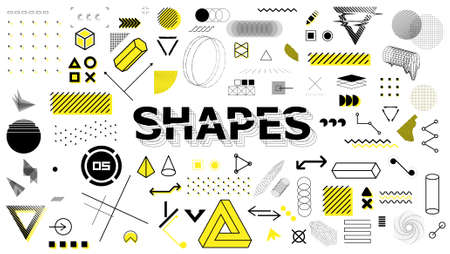 Geometric sign, shapes, elements in memphis style. Universal graphics design elements, trendy retrofuturism shapes in minimal style. Geometric shapes and trending abstract elements. Vector set Stock Illustratie