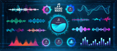 Modern Sound Waves - Equalizer. Futuristic waveforms, circle UI and UX bars, voice graph signal and music wave in futuristic HUD style. Microphone voice and sound recognition. Vector audio waves set Stock Illustratie