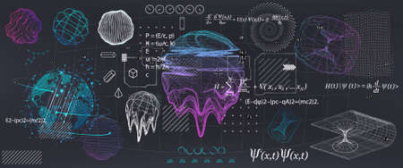 Abstract Science elements with fundamental Quantum Mechanics formulas. Curvature of spacetime in a gravitational field, black hole, elements from theoretical physics. Vector collection elements