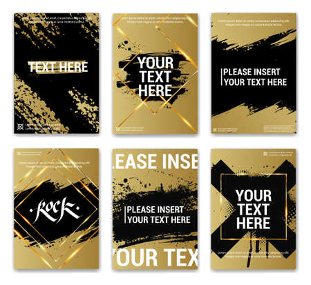 Golden posters with grunge, text and gold frames. Luxury collection with golden paintbrush for covers, posters, flyers, brochure, catalogue and other advertising. Template covers set. Vector Stock Illustratie