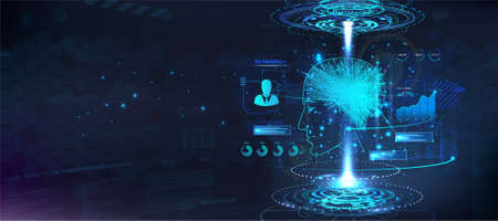 Ai hologram human head with 3D neuron brain model. Artificial neural network and artificial intelligence concept. Digital banner with neon Silhouette of human head, hologram brain and HUD UI. Vector