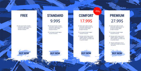 Price list in grunge, paint, ink style. Template hosting plans for Web site, UI, UX, Mobile App. For tariffs with sale, Mockup web boxes banner. Price List set, Tariff plan, Pricing table. Vector
