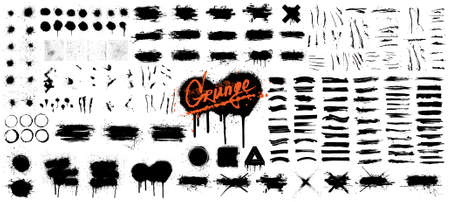 Diverse set of black paint - ink brush strokes, brushes, lines, spray, ink splash , mud and other Dirty artistic design elements. Spray graffiti stencil template ink brush strokes, lines. Vector set Stock Illustratie
