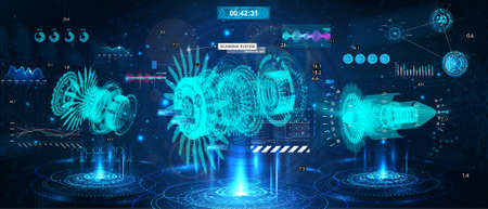 Holograms with 3D turbines and HUD interface. Modern Jet engine of airplane - projection xray. Modern technology industrial aerospace blueprint. Futuristic engineering, parts and 3D mechanisms. Vector Stock Illustratie