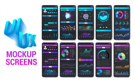 Bright and colorful smartphone apps with well-designed UI. Mobile phone app mockups for sport, fitness and banking and payment. Modern infographic, charts, graphic. UI, UX, GUI. Vector App cellphone Stock Illustratie