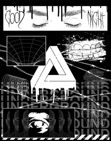 Brutalism collection images for prints on clothes, typography, merchandise, T-shirts, posters, covers and more. Urban street, crime and underground concept. Brutalism shapes set. Vector illustration