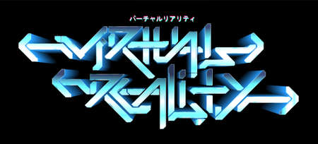 Digital graffiti text - virtual reality. Future lettering 3D in cyberpunk style. Graphic digital text. Hi-tech graffiti isolated in black background. Translated from Japanese - virtual reality. Vector