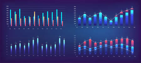 Futuristic graphs for App UI, UX, KIT. Modern infographic, charts and diagrams. Financial statistics and analytics progress scale panel. Futuristic User Interface graphics for UI. Vector set
