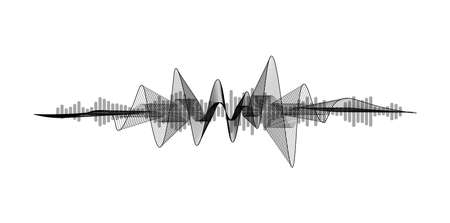 Black and white equalizer. Voice assistant concept. Modern sound wave element isolated on white background. Microphone voice control technology, voice and sound recognition. Vector illustration Stock Illustratie