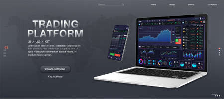 Trade Platform Web Banner Mockup. Market monitoring and trading stocks and cryptocurrencies online. Forex market, news and analysis. Trade App and Binary Option screens on different gadgets. Vector 向量圖像