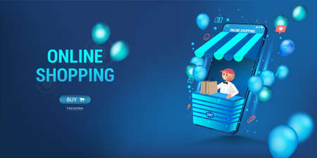Online store via smartphone. The seller looks out of the phone - concept online shopping. 3D web banner shopping online on website or Mobile App. Online fast shopping advertising. Vector illustration 向量圖像