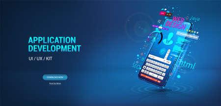Application, website, software Development for Mobile phone, smartphone. Create Software and web design UI, UX, KIT for App. Programming and coding concept. Web design banner. Vector illustration UI