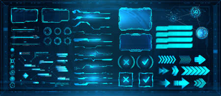 Sci-fi digital interface elements HUD for Game, UI, UX, KIT. Futuristic User Interface, frame screens, Callouts titles, FUI circle set, Loading bars, Lines and Arrows in HUD style. Vector collection 向量圖像