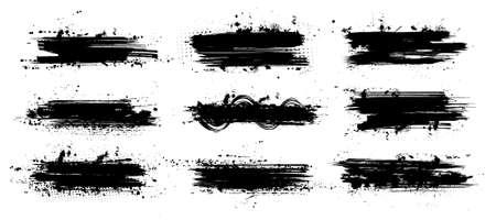 Ink paintbrush template with splashes. Vector collection black grunge paintbrush, ink brush stroke. Dirty artistic design elements. Inked splatter, dirt stain, splatter, brush with drops blots. Vector 向量圖像