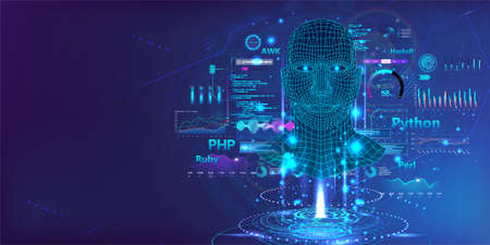 Neural network with high-level artificial intelligence on programming language. Web page banner AI concept. Deep machine learning. Artificial intelligence with HUD, UI interface. Vector illustration 向量圖像