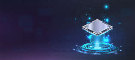 Presentation microchip processor with lights and glow effects. Futuristic CPU AI, Quantum computing, Big data concept. Web banner central computer processors. Digital microchip CPU. Vector banner