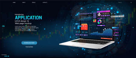 Modern web banner. Business data and investment analysis on laptop with dashboard UI interface. Website and mobile version web. Isometric banner with budget accounting or statistics concept. Vector