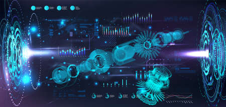 Turbine Jet Engine blueprint in hologram projectors with HUD interface. 3D gears xray. Industry 4.0 and hi-tech technology futuristic engineering concept. Sci-fi Jet engine. HUD vector illustration