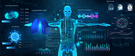Sci-fi Healthcare examination HUD style. Full scan of the human body and all organs, Hi-tech x-ray. Identifying viruses and infections using AI. HUD illustration medical research. UI for medical app Vettoriali