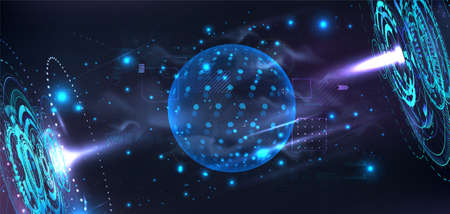 Futuristic lab with holograms and a 3D bubble shield to present your product in futuristic cyberspace background. Template blank Dome or sphere with HUD interface. Cover in cyberpunk style. Vector