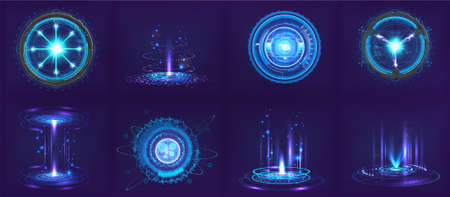 Sci-fi futuristic gadgets and devices in HUD style. Circle digital 3D elements for UI, GUI, VR and other. Hi-tech abstract elements - spheres, futuristic gadgets, holograms and other digital elements Vettoriali