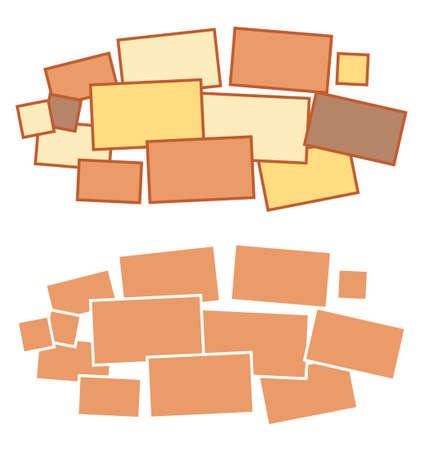 Moodboard template. Photo frames, minimalist mockup, beautifully randomly scattered, composed random collage. Moodboard grid arrangement for presentation set. Photo album page Vector illustration