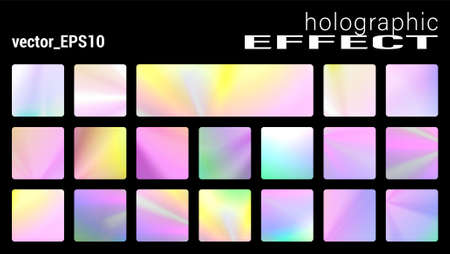 Holographic glitter texture collection, Trendy discs backgrounds with ultraviolet Metallic effect. Holographic texture set for posters, stickers, flyers, invitations. Pastel neon rainbow. Vector set Vettoriali