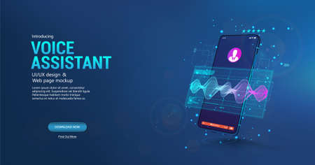 Voice assistant in smartphone application. 3D mockup smartphone with sound wave and UI. Microphone voice control technology, voice and sound recognition. Equalizer, wave flow, Ai assistant. Vector Vettoriali