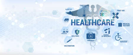 Blue healthcare concept banner with icons and medical aspects. Design banner in science style. Medical vector illustration for for diagnostics and treatment in healthcare. Modern digital infographic Vettoriali