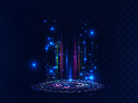 Futuristic and magic portal. Futuristic scene with neon and light effects. Digital circle portal or futuristic hologram. Scifi digital podium or magic teleport for UI, GUI, VR. Vector illustration
