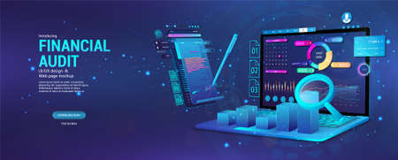 Financial audit web page banner. Modern financial management. Business account tax report, laptop with graphic and charts, documents. Financial audit, business account tax report. Vector Banner Vettoriali