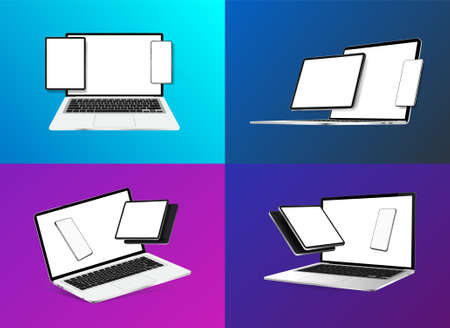 Mockups Gadgets, Devices and its Compositions. 3D realistic Smartphone, tablet, laptop, notebook with blank screen. Devices in perspective and isometric view. Will help you to present your product. Illustration