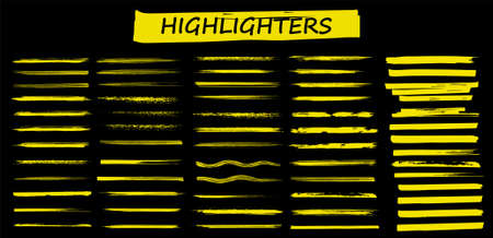 Detailed Highlighters. Paintbrush lines. Marker color stroke. Yellow watercolor lines hand drawn and traced. Brushstroke highlight set. Brush pen hand drawn underline. Marker lines. Vector collection Vettoriali