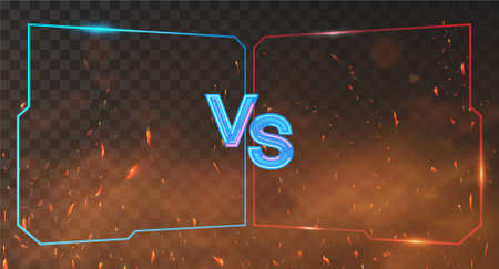 Red and blue Versus Battle banner with neon frames, smoke and sparks. VS background for competition, match game, sport, fights. VS neon letters on red and blue background. Vector Illustration Versus