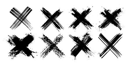 X black mark collection. Eight very detailed and different crosses. Cross sign from brush strokes. Grunge set X. Hand drawn crossed brush strokes. Vector set Illustration