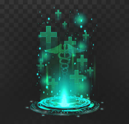 Hologram with medical symbols for the restoration of lives in the game and the presentation of products in healthcare. GUI element for regeneration hp, medical point, first aid kit. Vector element Vettoriali