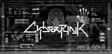 Black and white screen banner concept cyberpunk with HUD interface and scan palm, face and fingerprint. Banner with lettering and elements scifi design. Cyberpunk art. Digital vector illustration HUD