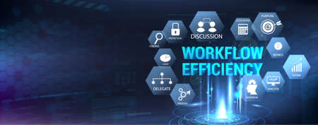Horizontal banner workflow efficiency with icons set and aspects. Hologram with 3D workflow inscription. Web banner. Processes, automation, interaction, good working conditions and other aspects. Vettoriali