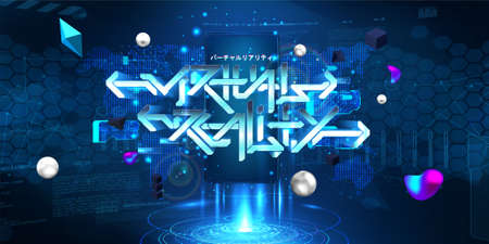 VR and AR mobile concept with 3D lettering Virtual reality and hologram with HUD interface, 3D shapes. Augmented design cyberspace UI, UX, KIT. Japanese lettering translation - virtual reality