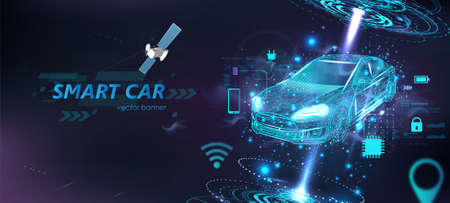 Futuristic electric smart car in polygonal style with HUD interface and icons. Hologram smart auto in Wireframe in line low-poly. Smart automobile banner. Virtual graphic interface HUD. Vector Illustration