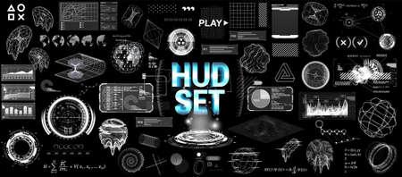 Futuristic Graphic HUD elements set. Scifi elements for UI, GUI, Web and VR technology. Cyberpunk elements (hi-tech circles, shapes, holograms, charts, infographics and UI elements) HUD vector set