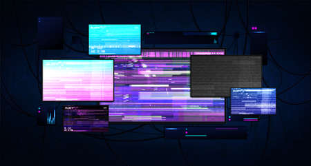 Futuristic server room with screens glitch effect. Dark cyberspace with burning monitors, wires and working equipment. Cyberpunk server room with monitors. Hacking and cyber protection concept. Vector Vettoriali