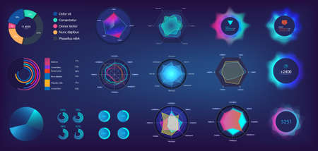 Circle infographic and Pie chart in futuristic style for Web, UI, UX, KIT and Mobile App. Infochart elements online statistics and data analytics. Information panel mockup. UI Vector elements set